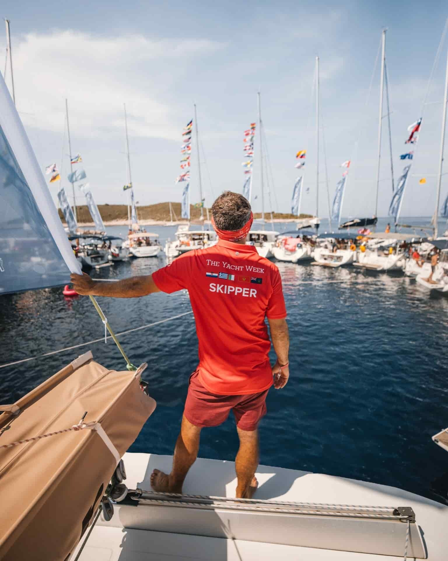 The Yacht Week's skipper overlooking the yachts