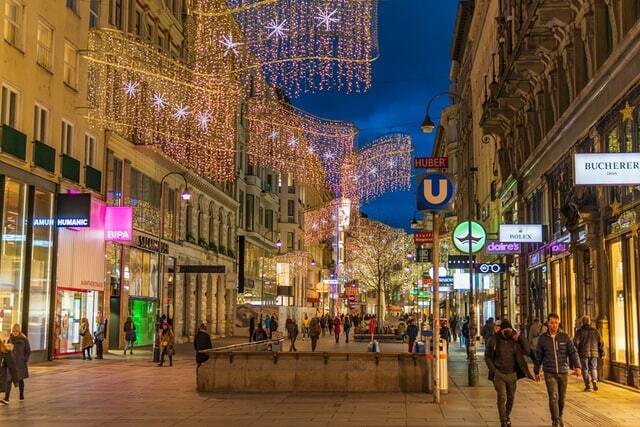 Vienna nightlife attractions with fairy lights