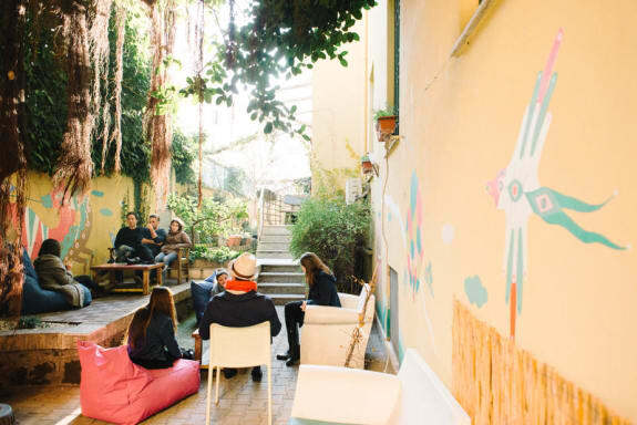 The beehive social gathering area hostel rome