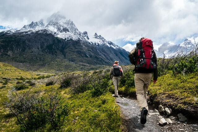 hiking and backpacking travelers with their backpacks