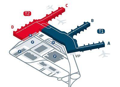 Map of PRG prague airport terminals