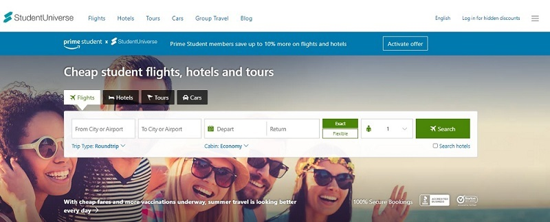 Search cheap student flights hotels and tours on student universe