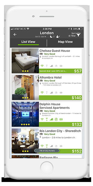 App preview of student universe hotel listings