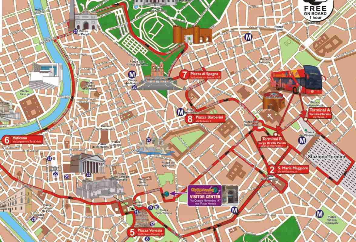 I Love Rome bus tour route map.