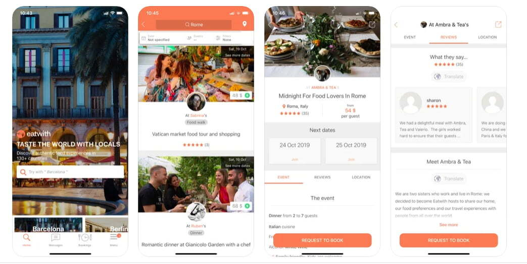 Eatwith app preview