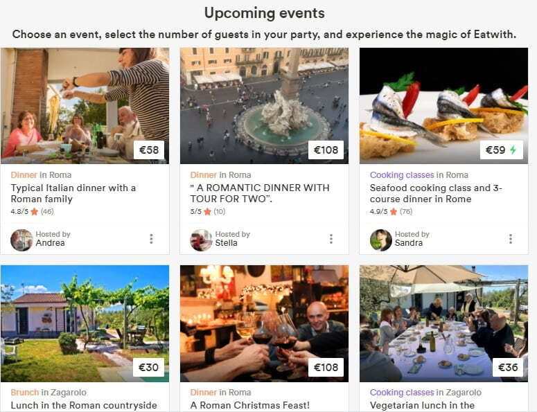 EatWith featured upcoming events