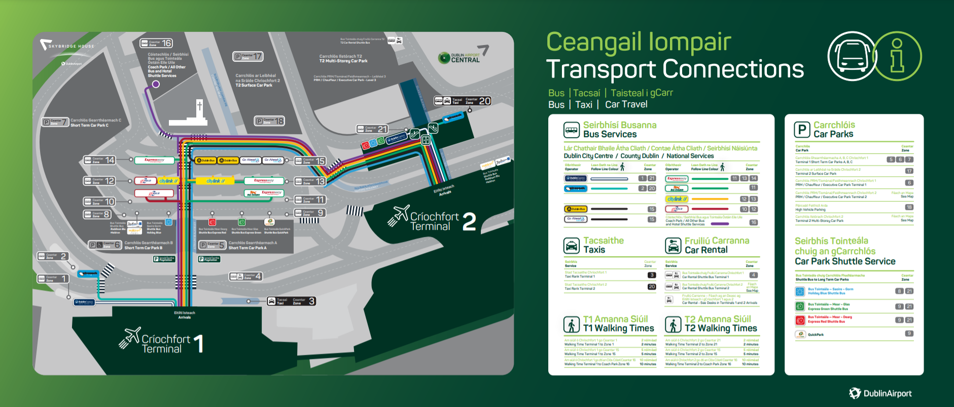 Dublin airport transportation and bus services map.
