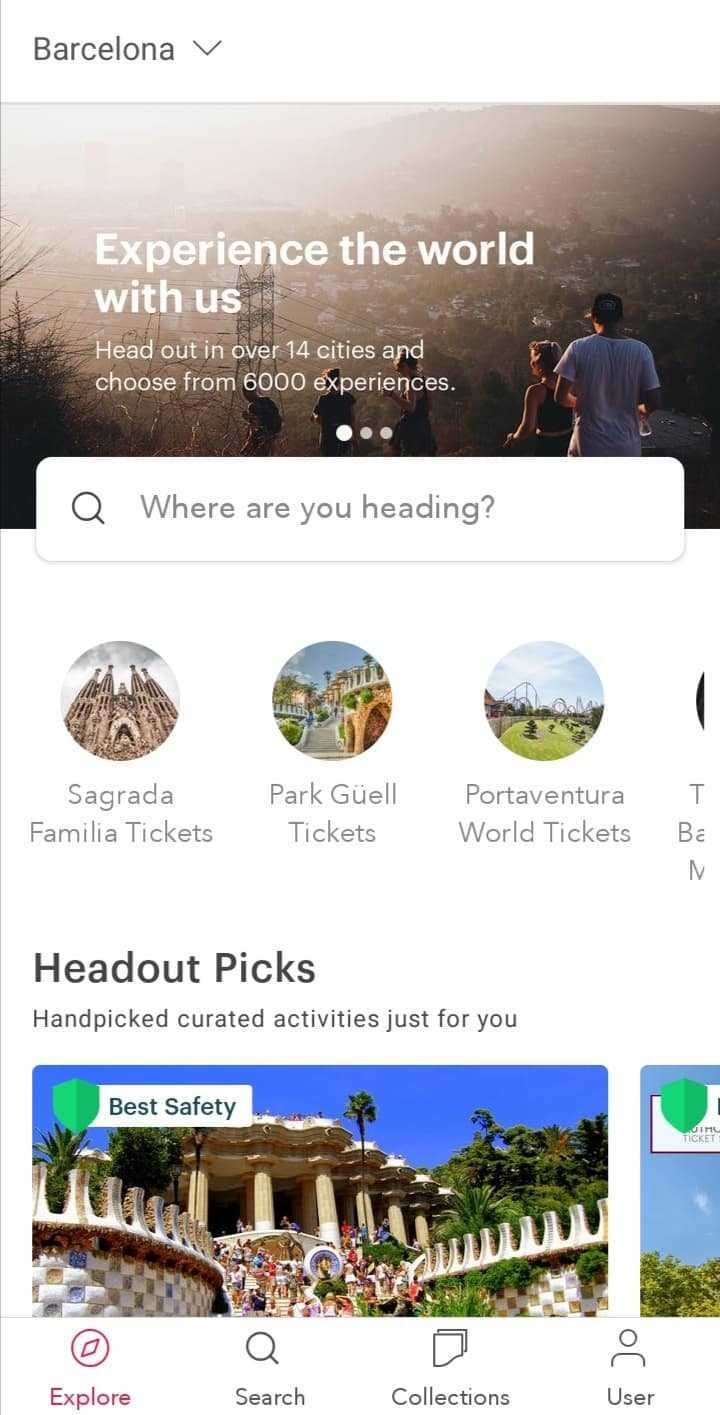 Headout main travel booking app mobile page.
