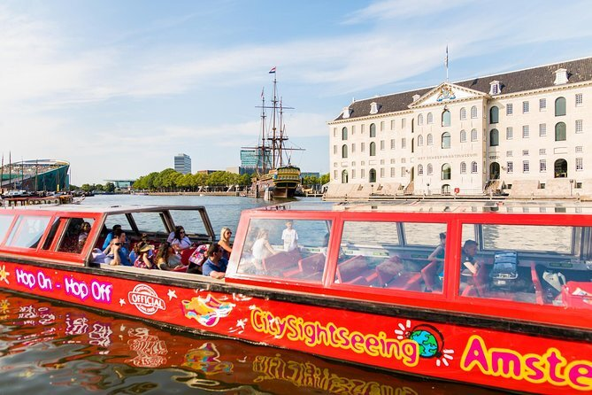 Hop on hop off city sightseeing Amsterdam canal tour.