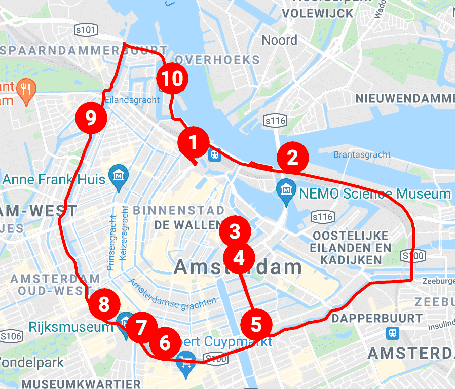 Hop on hop off red route Amsterdam bus tours.