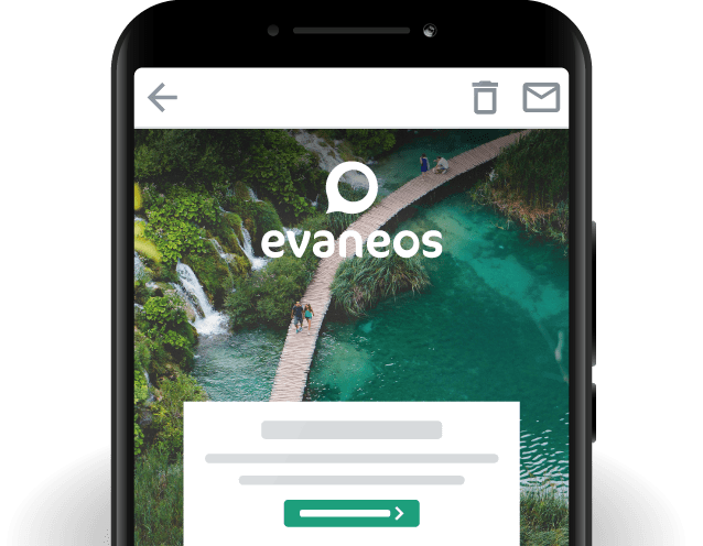 Evaneos home page mobile app preview.