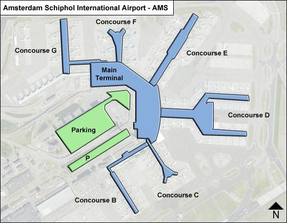 AMS Airport Layout of the main terminal and concourses.