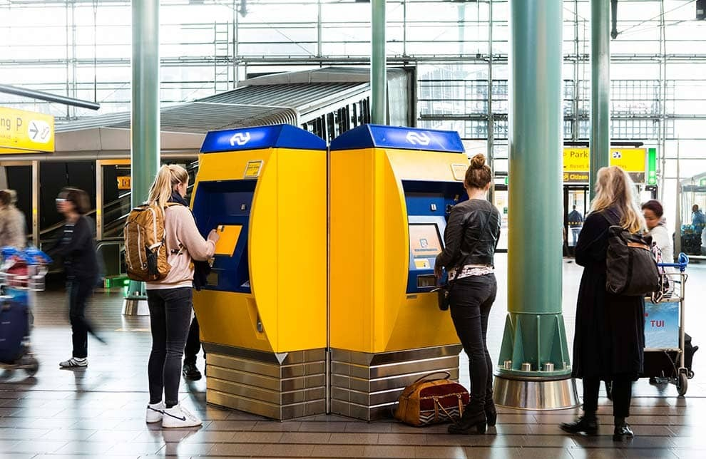 Amsterdam AMS airport express bus ticket purchasing booth.