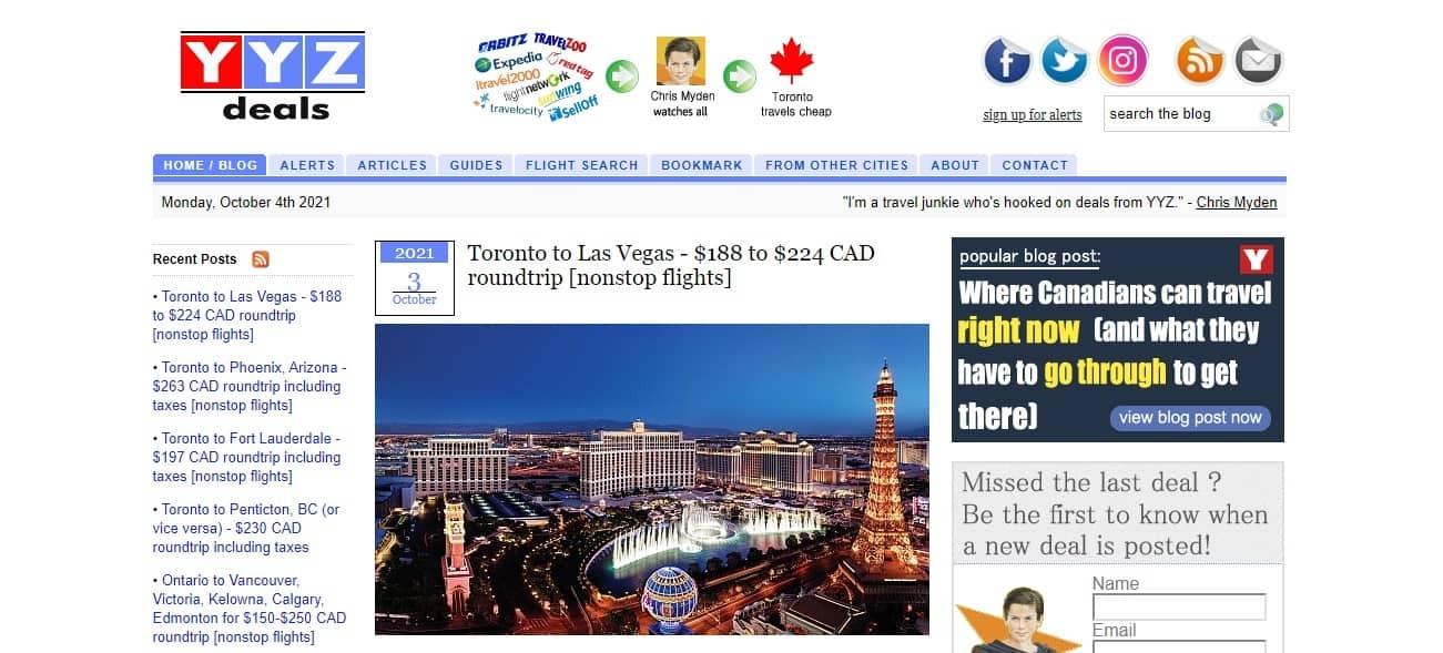 YYZ Deals website featuring deals from Toronto to Las Vegas.