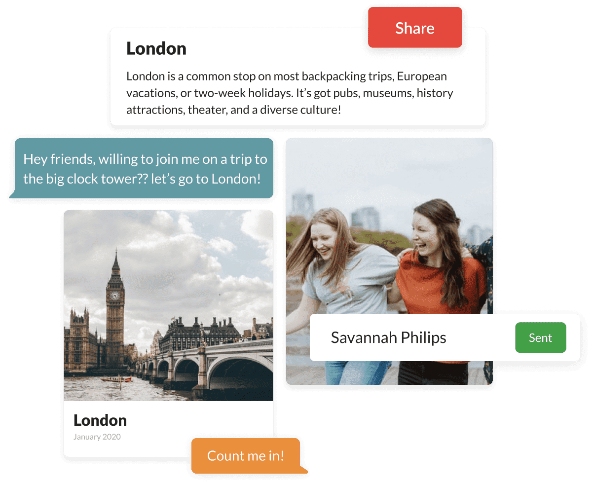 Graphic of planning a trip with friends in London, UK.