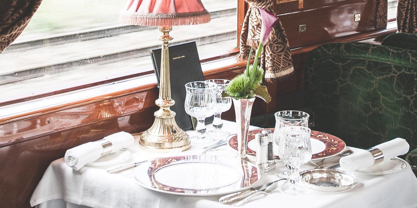 Dining aboard the Belmond Venice Simplon-Orient-Express