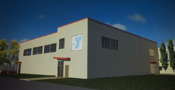 A square, tan building with a YMCA logo that represents the expanded Anchorage YMCA