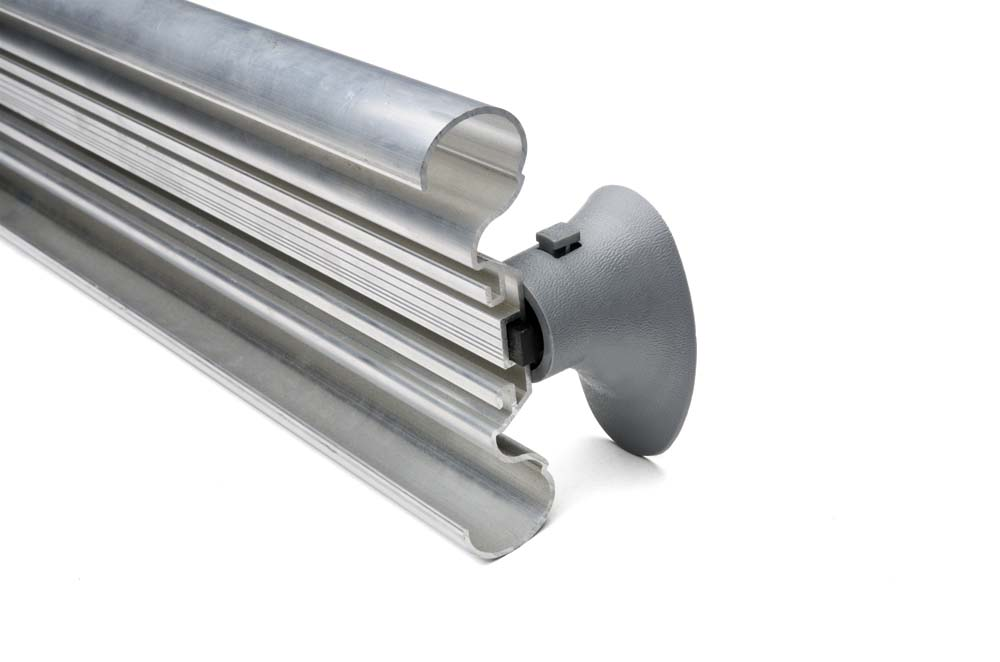 The aluminum retainer and end cap/corner piece of Wallprotex's wX7 handrail