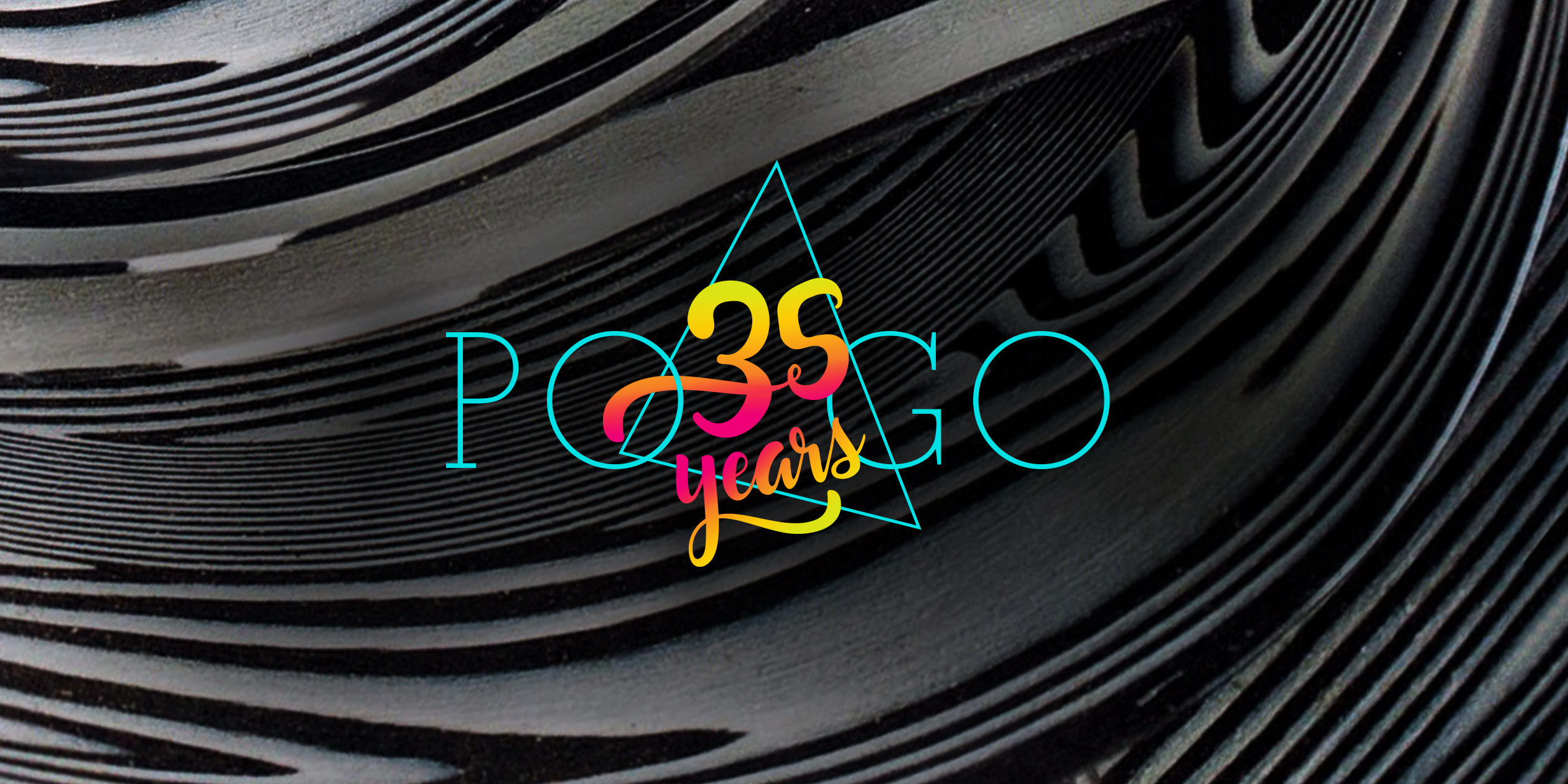 Pogo 35 years logo graphic imposed on psychedelic back and white background