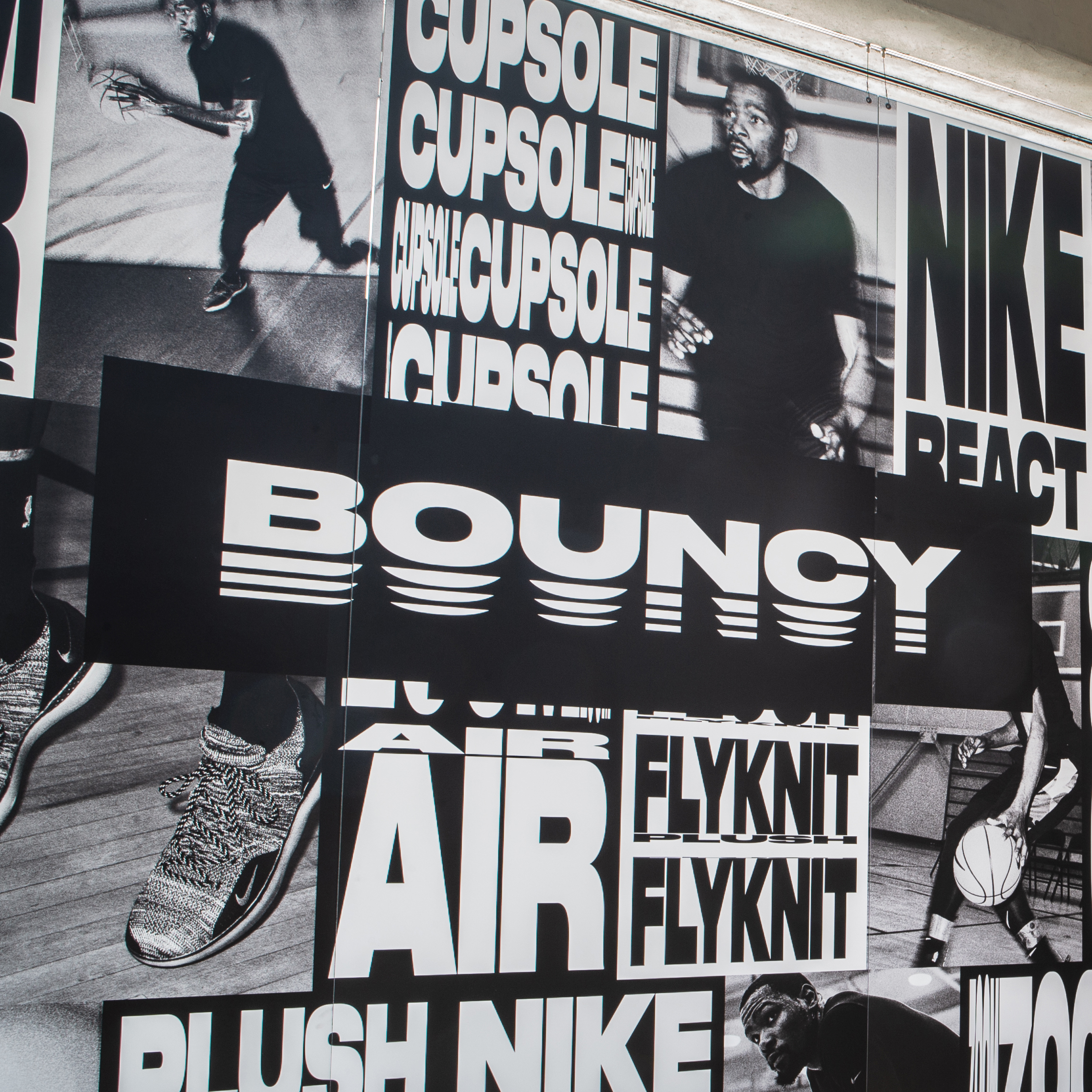 Graphic posters, playful typography and images of Kevin Durant playing basketball showcased at Nike San Francisco.