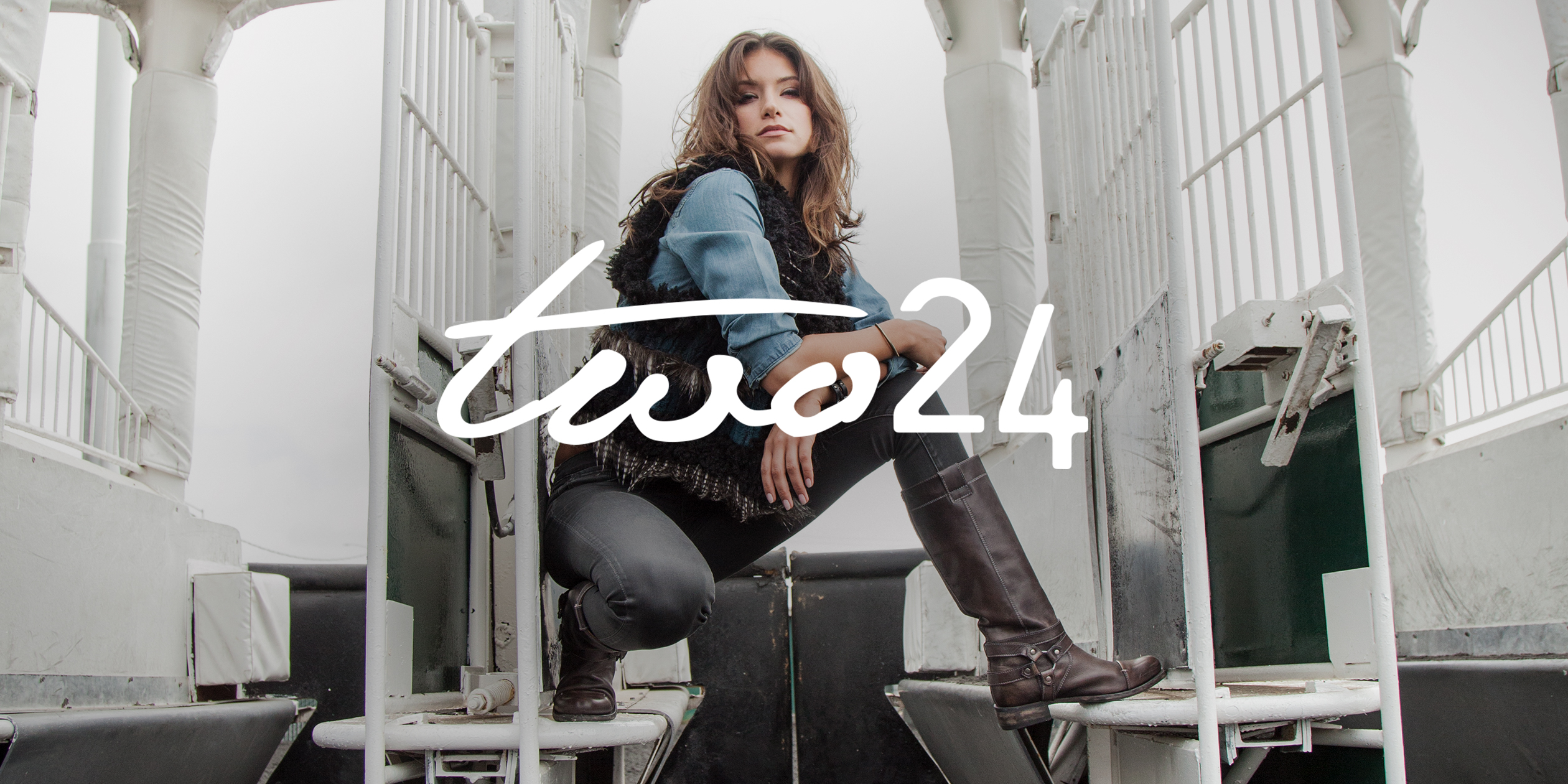 Women posing in highly fashionable boots with Ariat Two 24 logo imposed over image