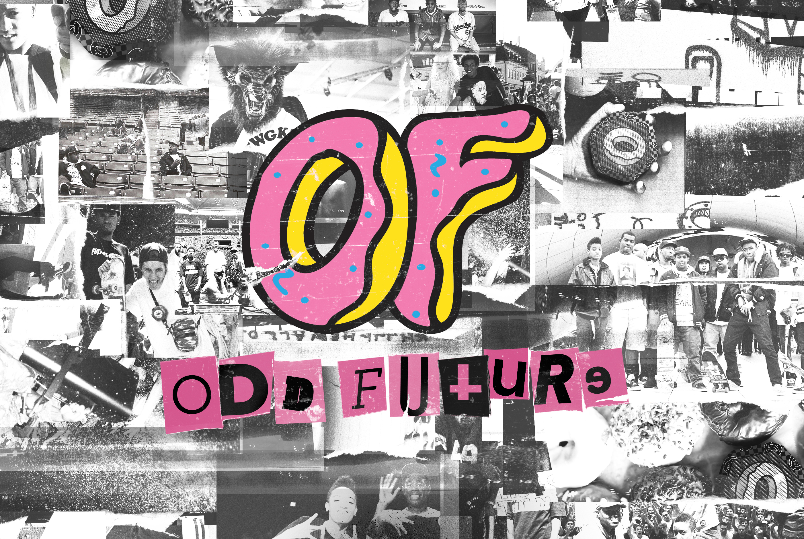 """Collage of black and white images of boombotix speakers and music group members with """"Odd Future"""" donut logo imposed over all of the images"""