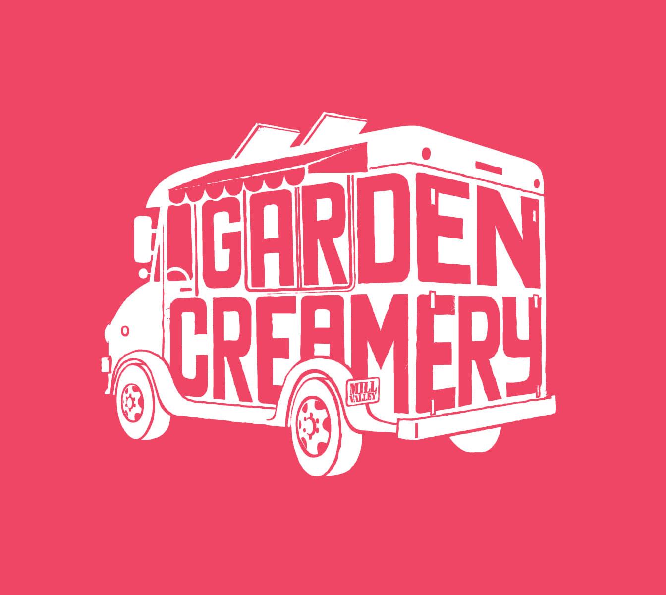 Garden Creamery logo  white truck on pink background