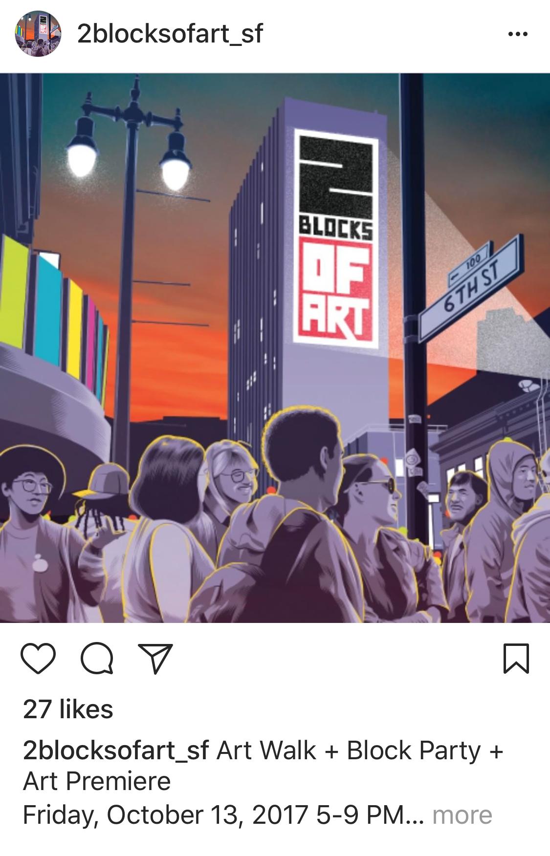 Screenshot of artwork posted on 2blcoksofart_sf instagram