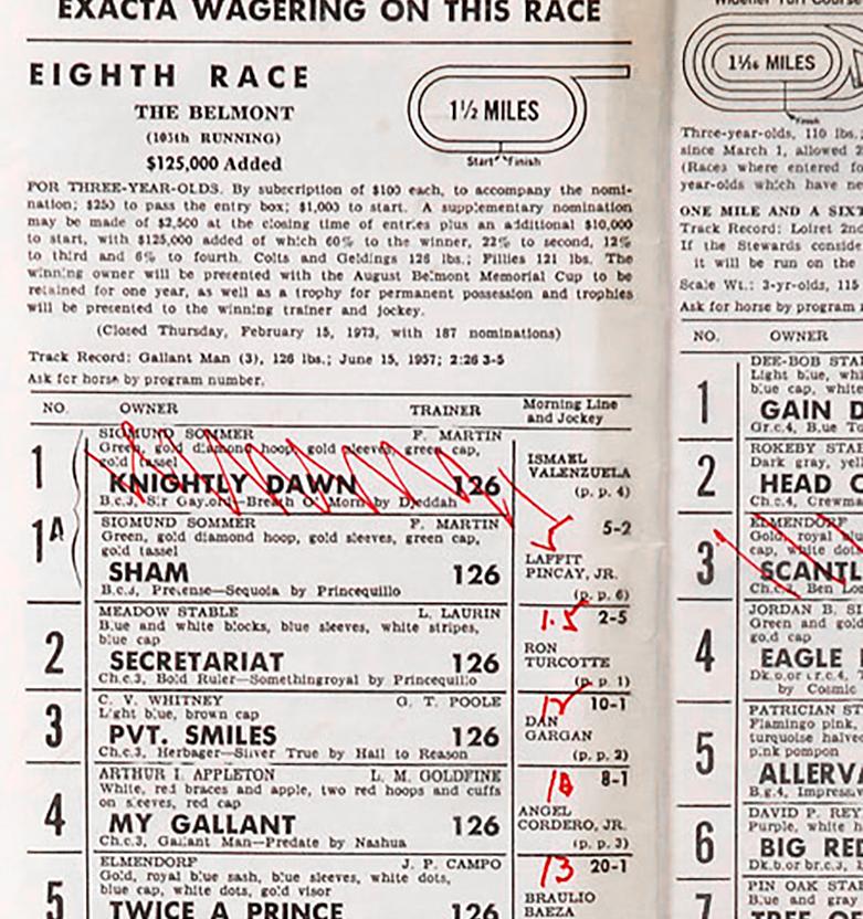 Vintage spread of horse bets on Secretariat race horse