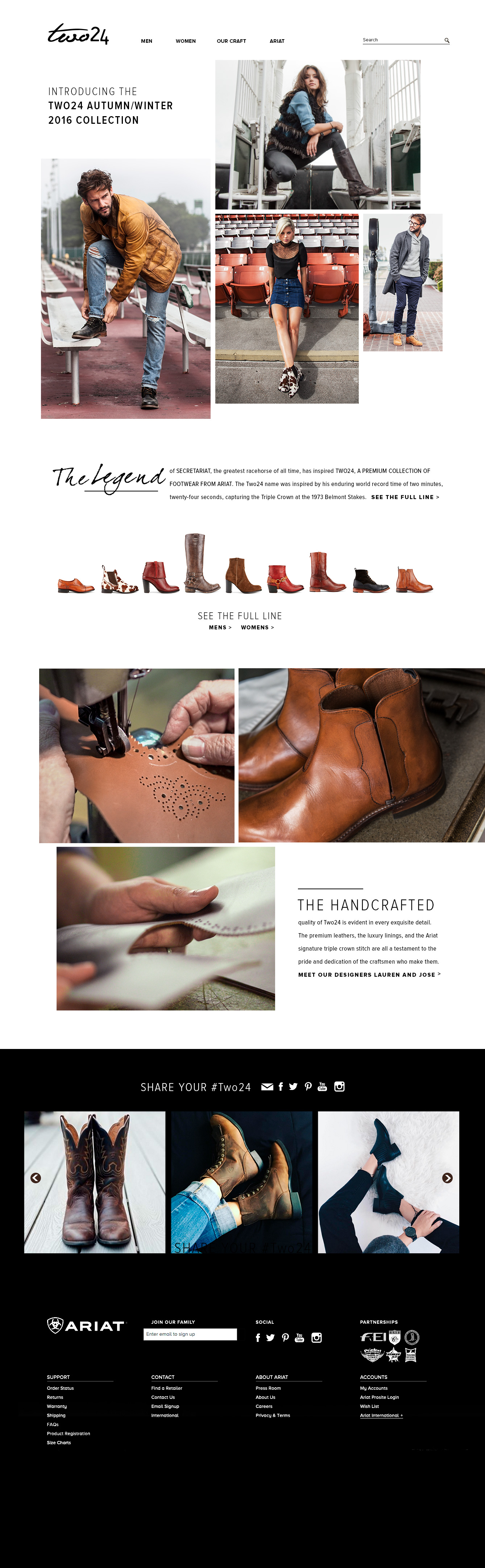 Ariat Two 24 landing page with several photographs of models showing Ariat two 24 boots