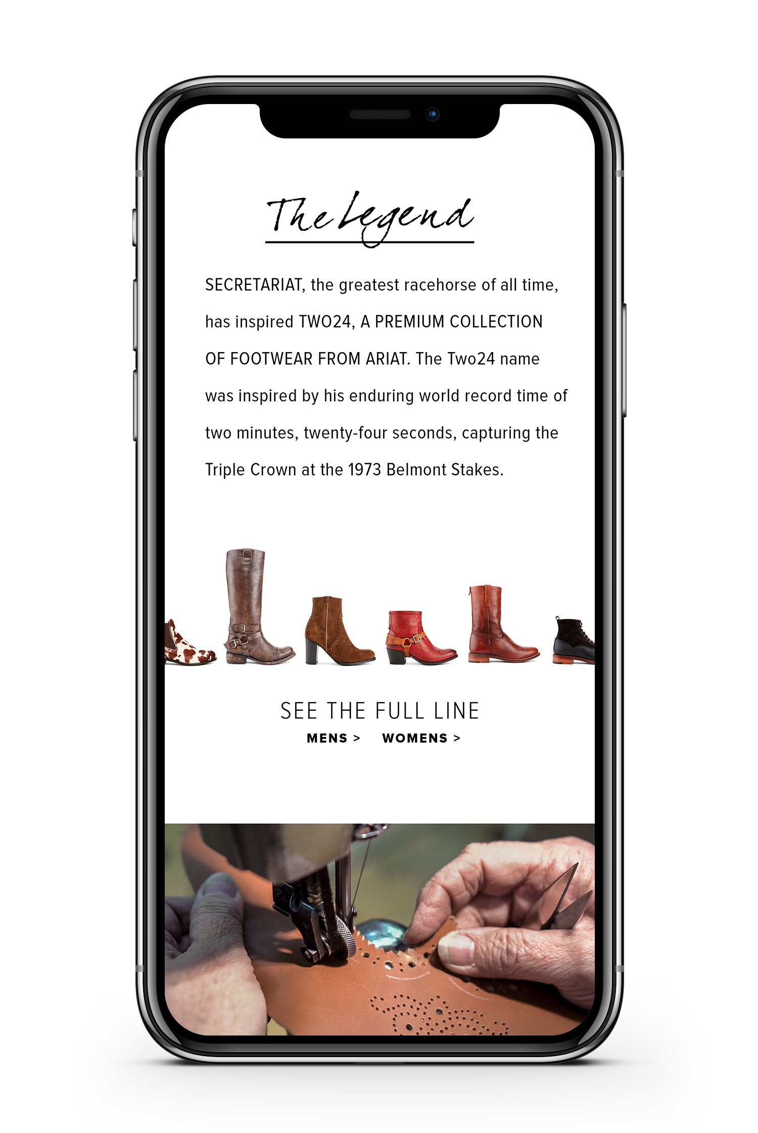 Ariat two 24 website displayed on smartphone showcasing the legend behind the brand