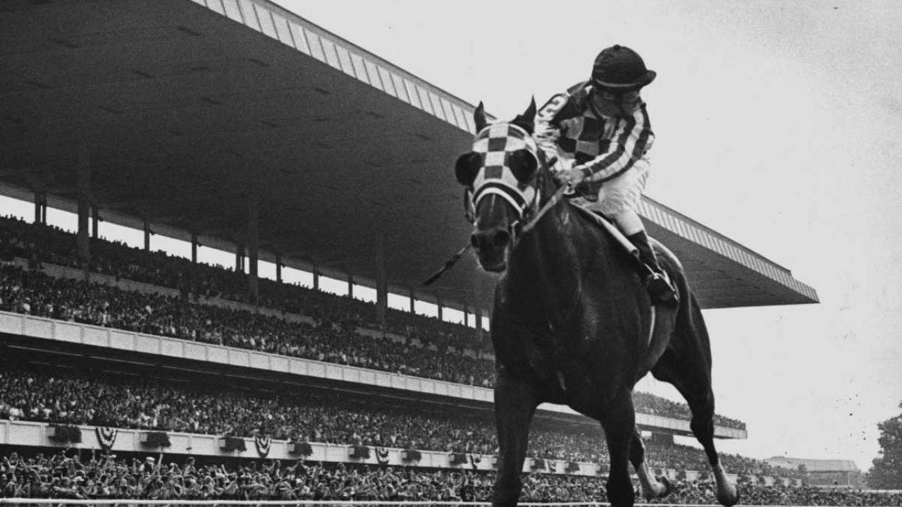Vintage photograph id Secretariat racehorse with jockey