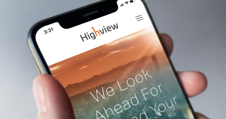 Highview website displayed on smartphone