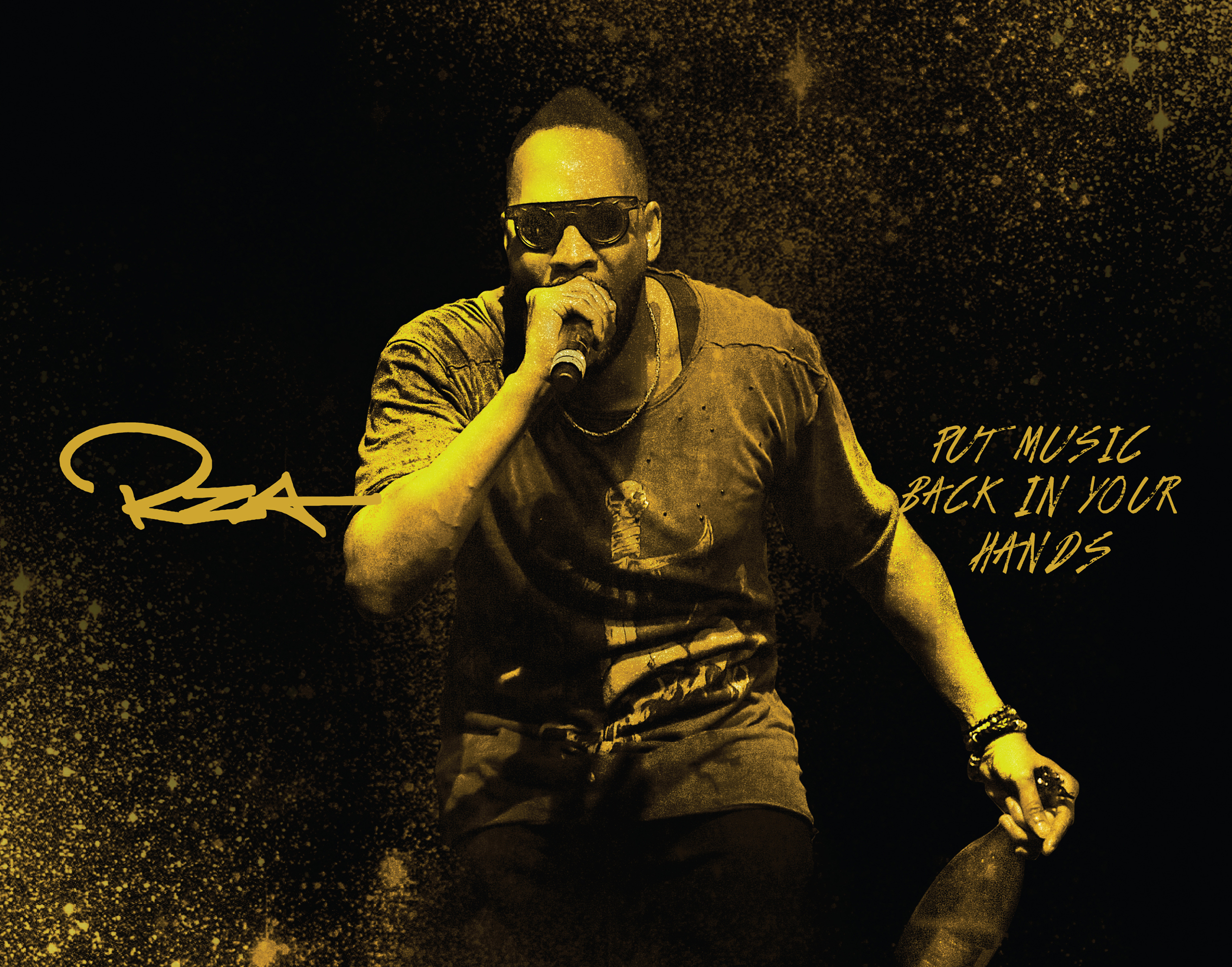 Dramatic image of RZA performing a concert with gold tint and script typography imposed over the image