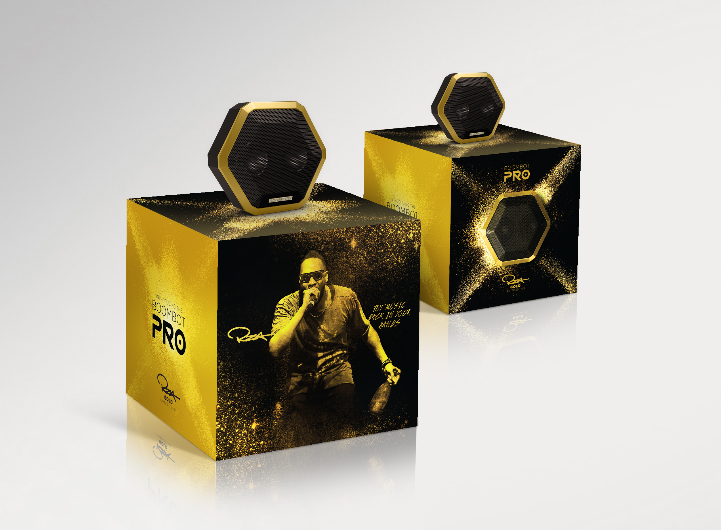 Boombotix Golden RZA edition speaker and packaging