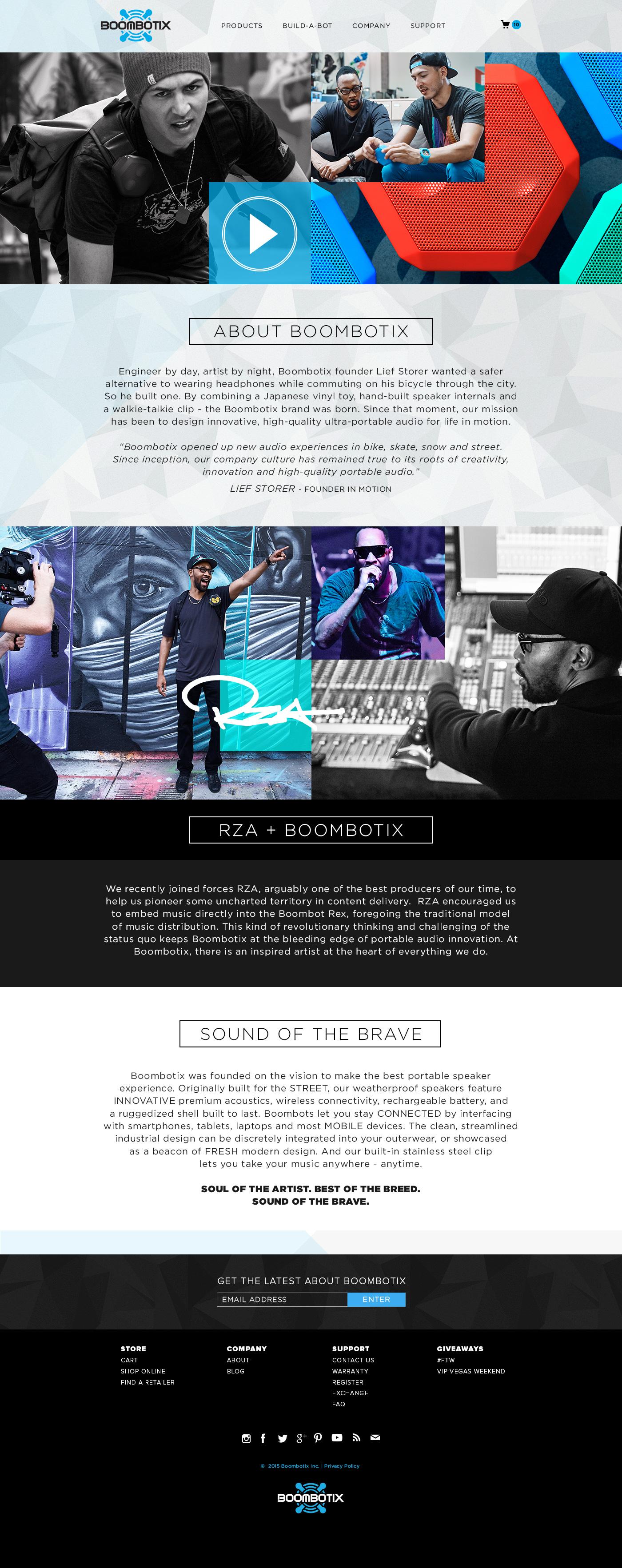 Screenshot of boombotix website landing page