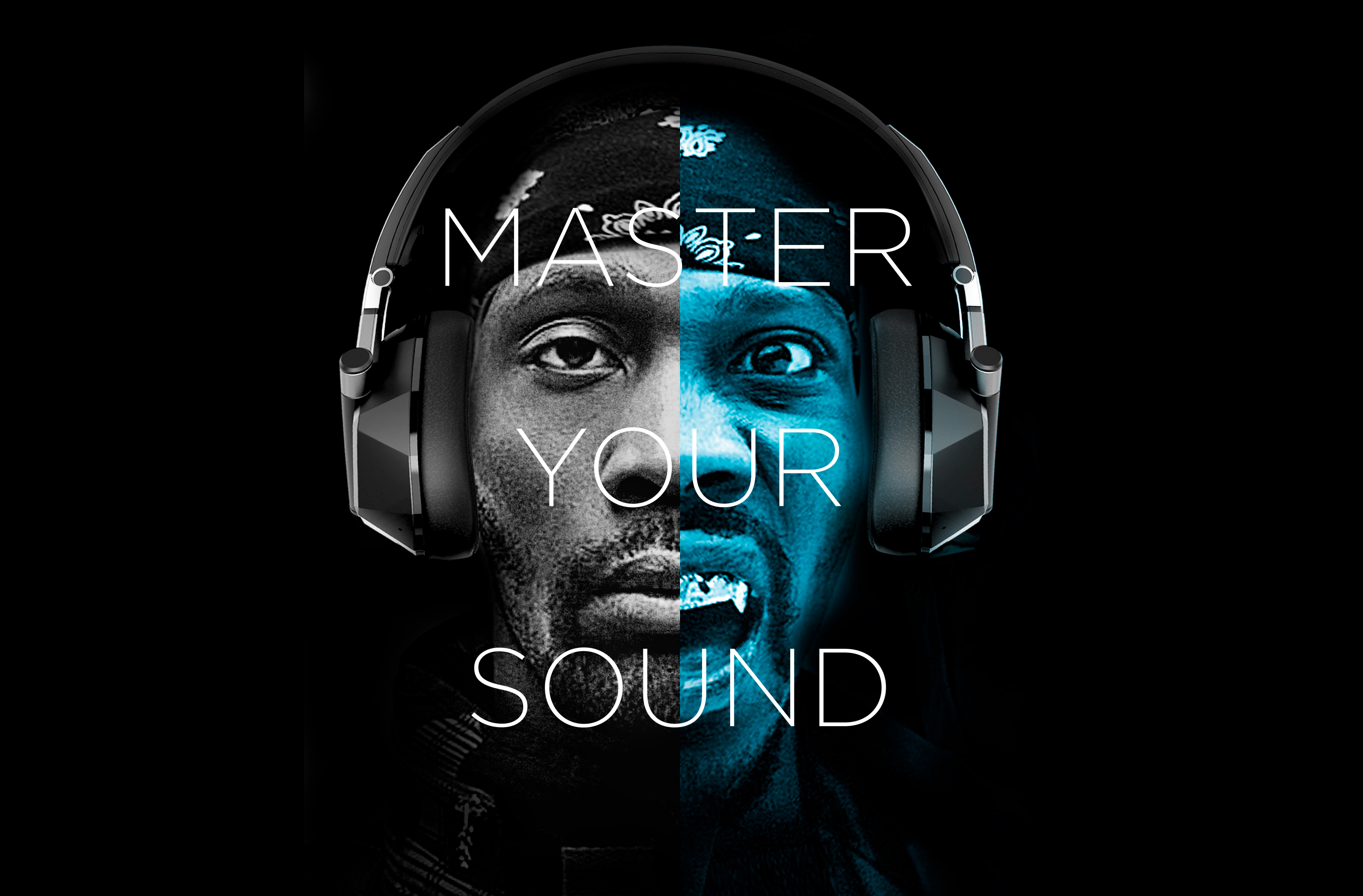 """RZA Boombotix """"master your sound"""" advertisement with half black and half blue tint"""