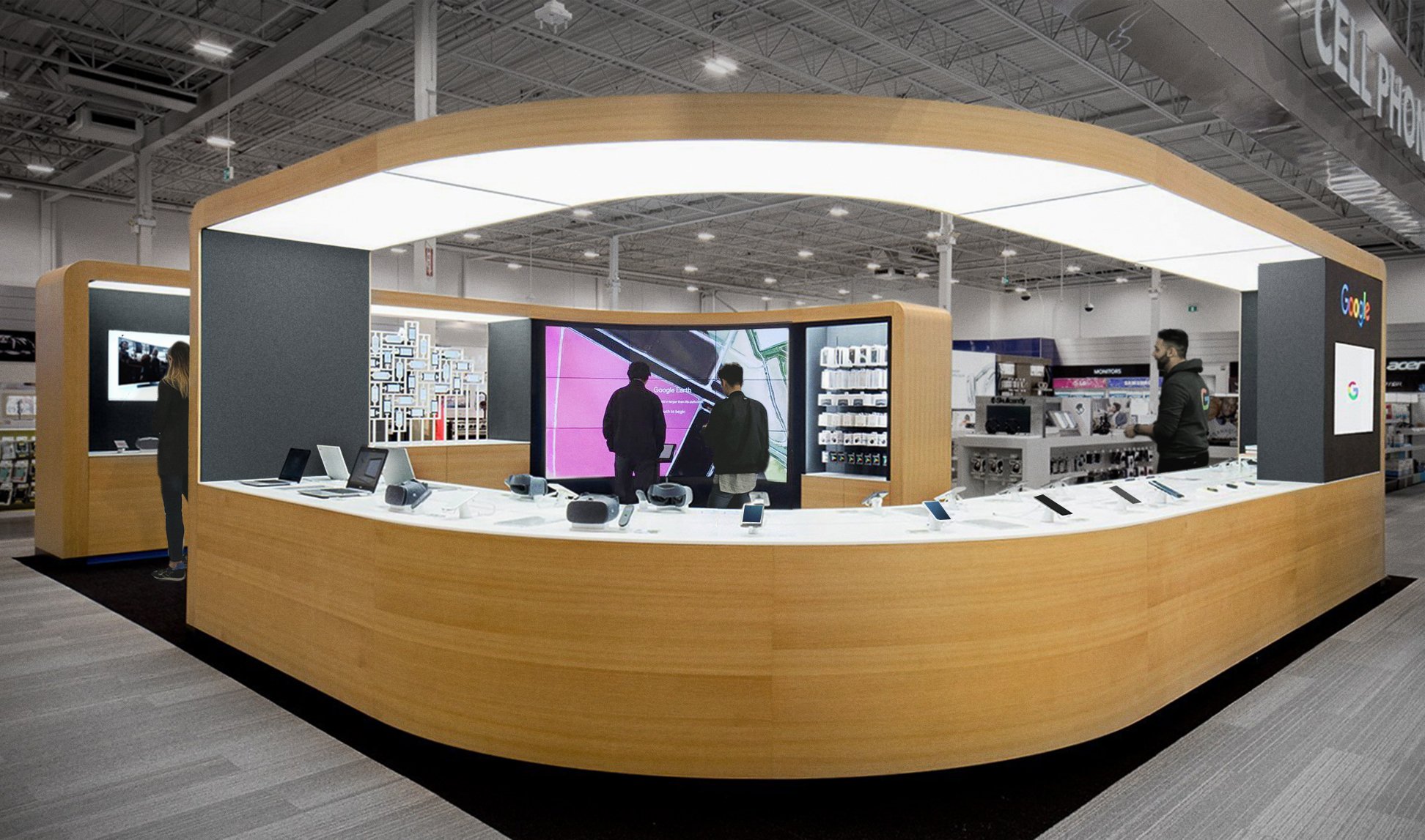 Google Shop counter with a display of many different technology products.