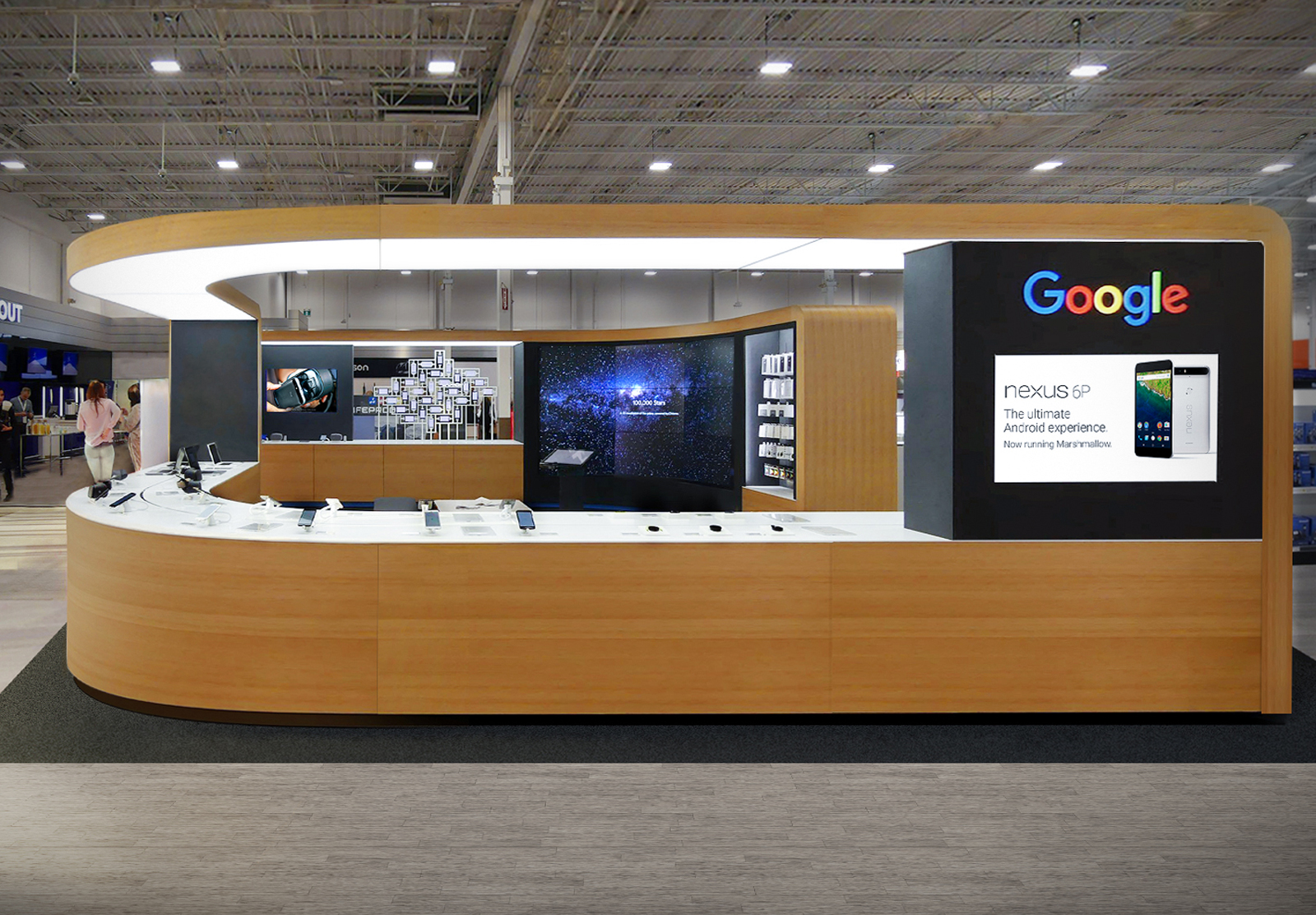 Google Store counter display from exterior
