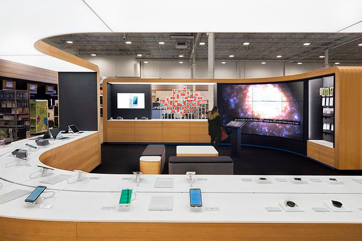 Google Shop showcasing technology products on their counter.