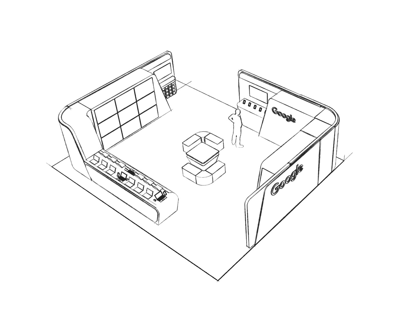 Google Store sketched mock up of retail design space