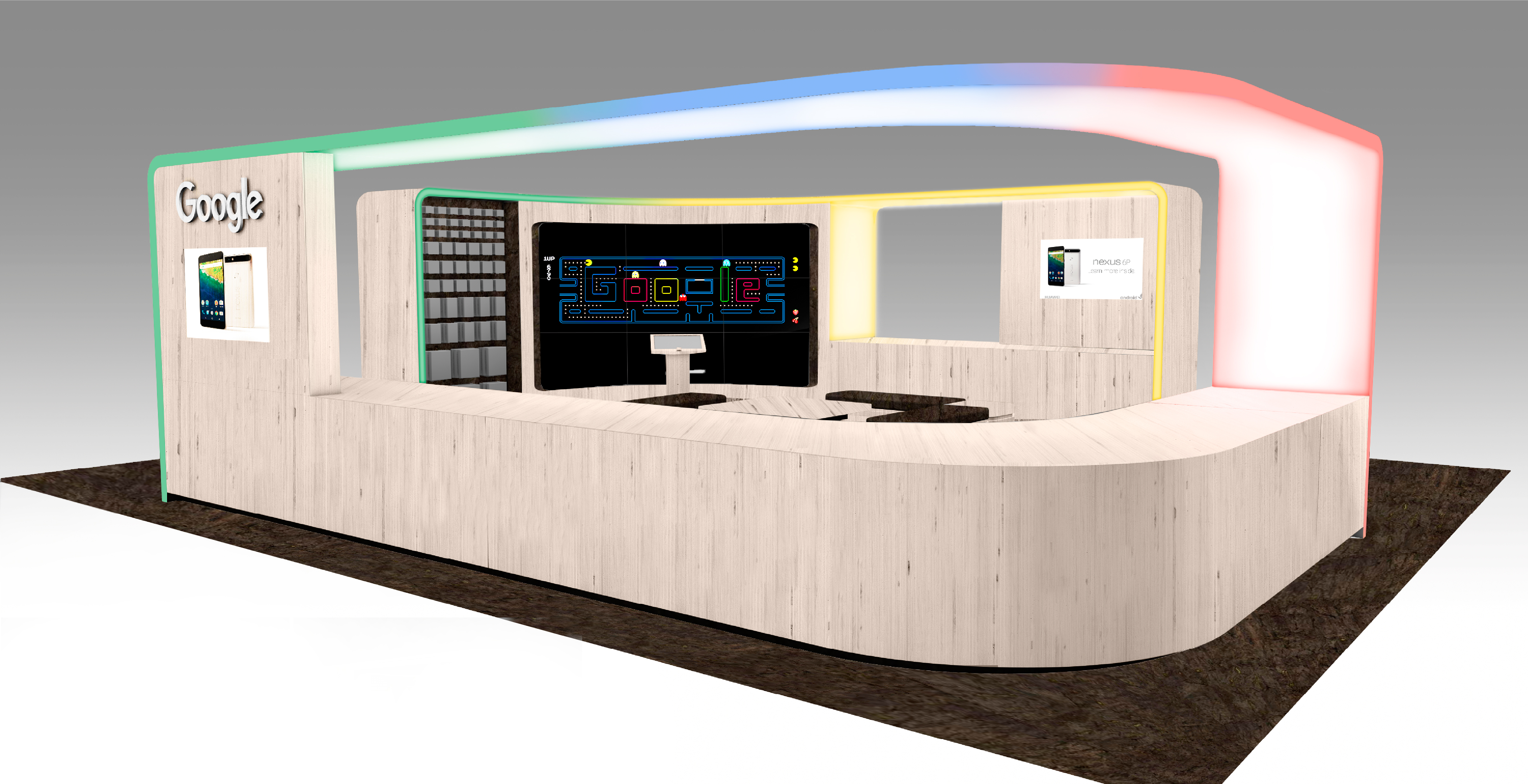 Digital render of google store retail space