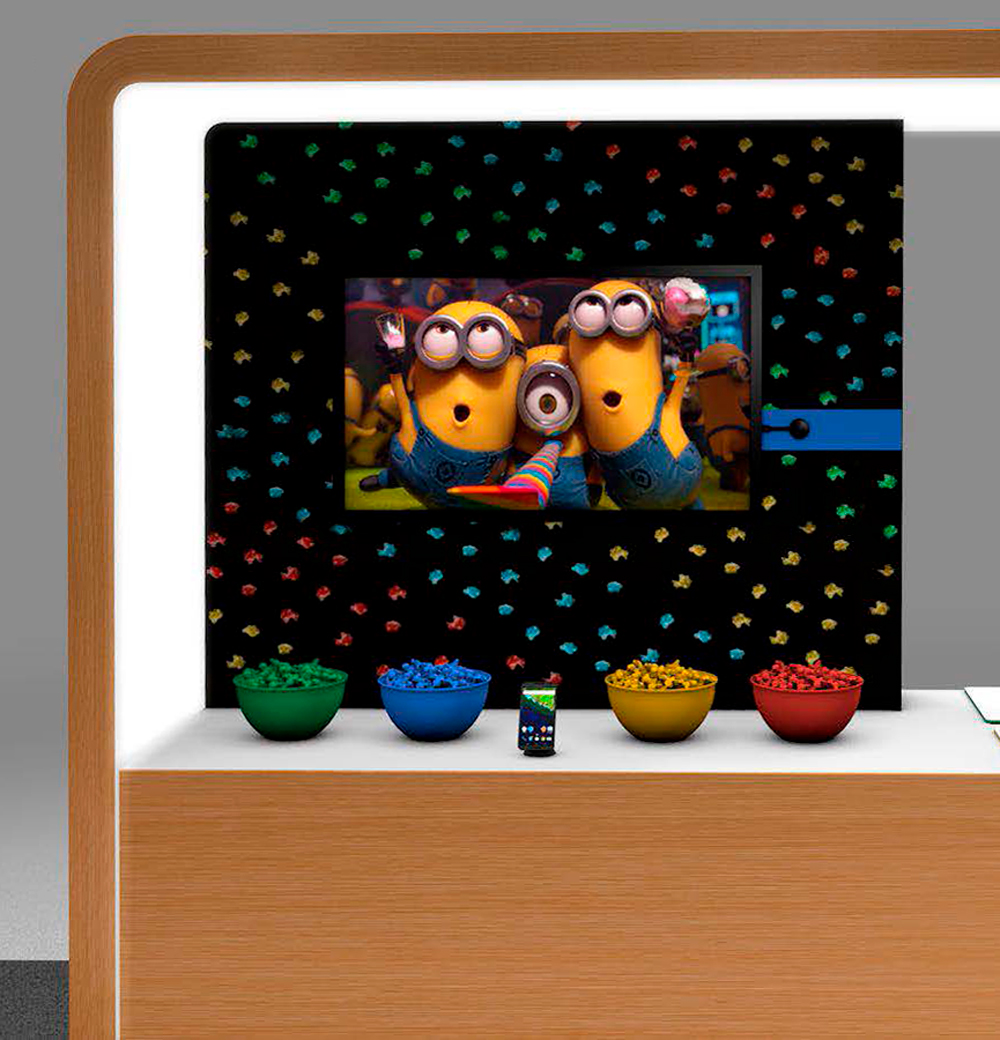 Digital render of google store retail space with minions themed installation