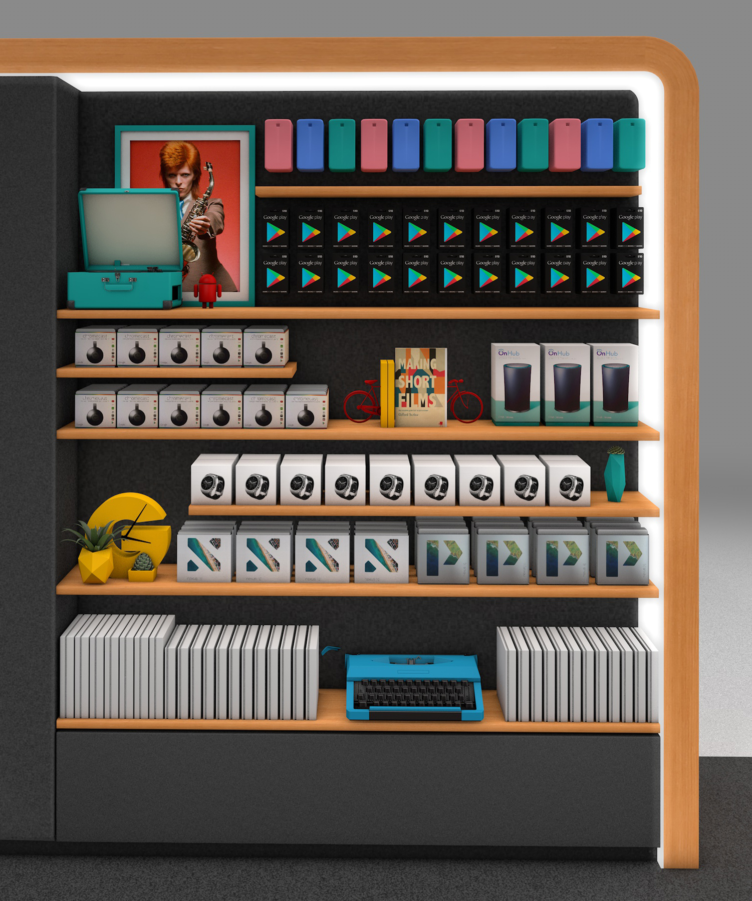 Digital render of google store retail space with various products placed on wall