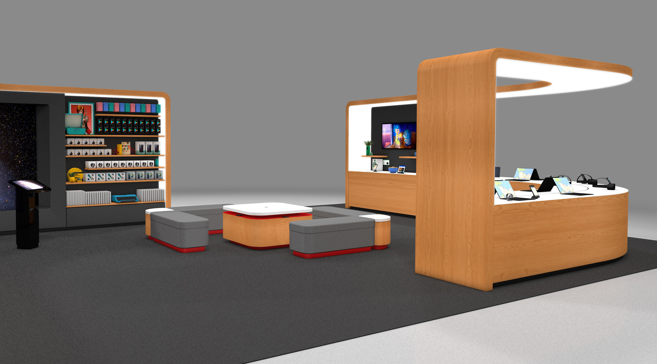 Digital render of google store retail space with an alternate view showing seats and various products displayed on counter and walls