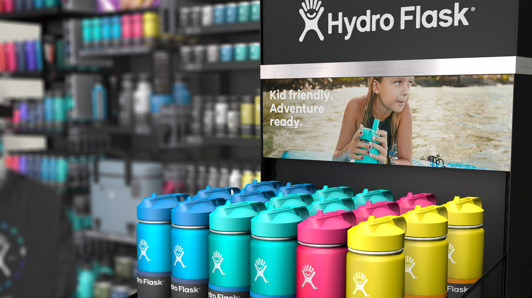 Digital product render of hydro flask bottles set up in colorful gradient