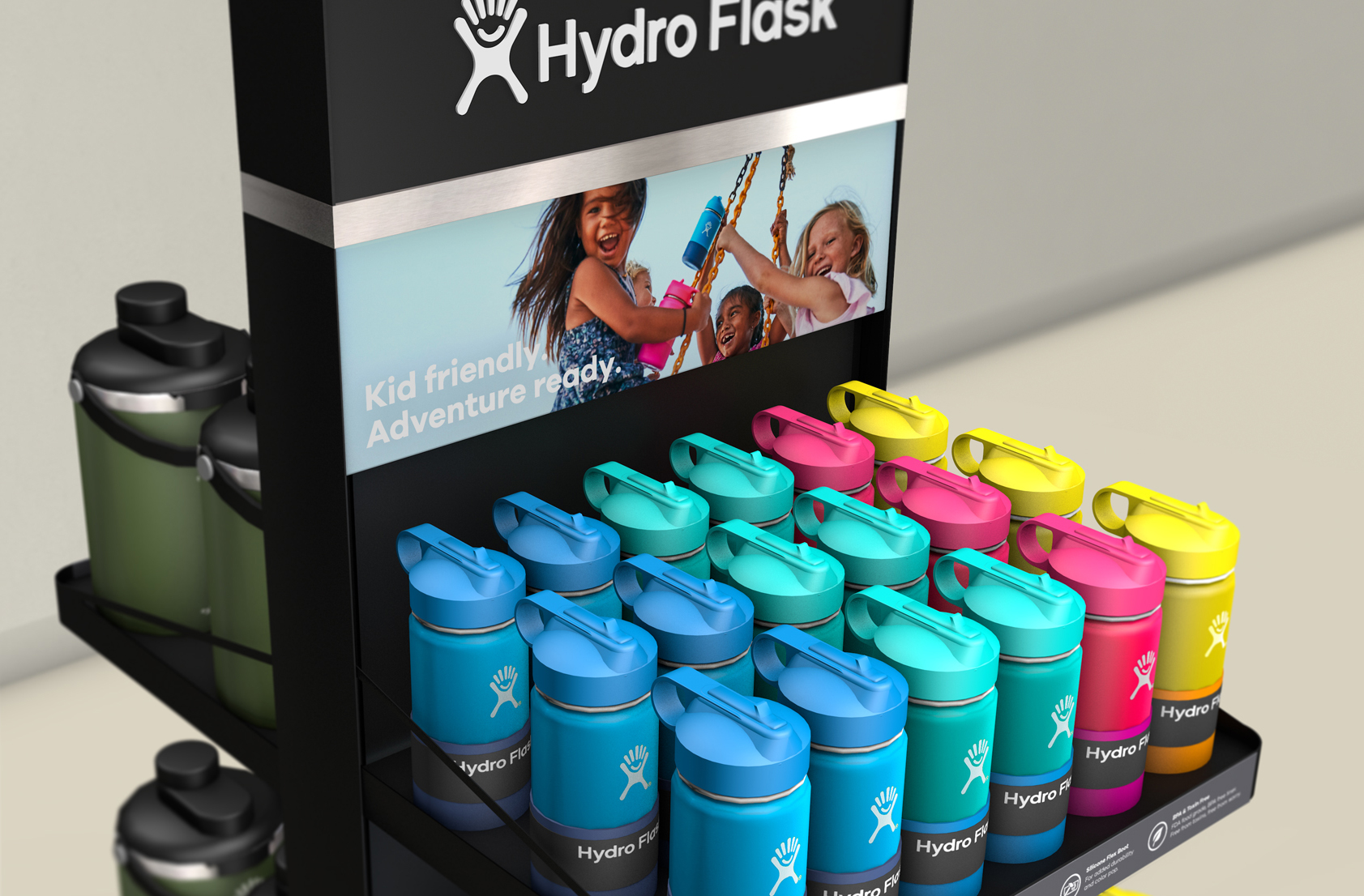Digital render of hydro flask bottles organized in to a gradient color scheme