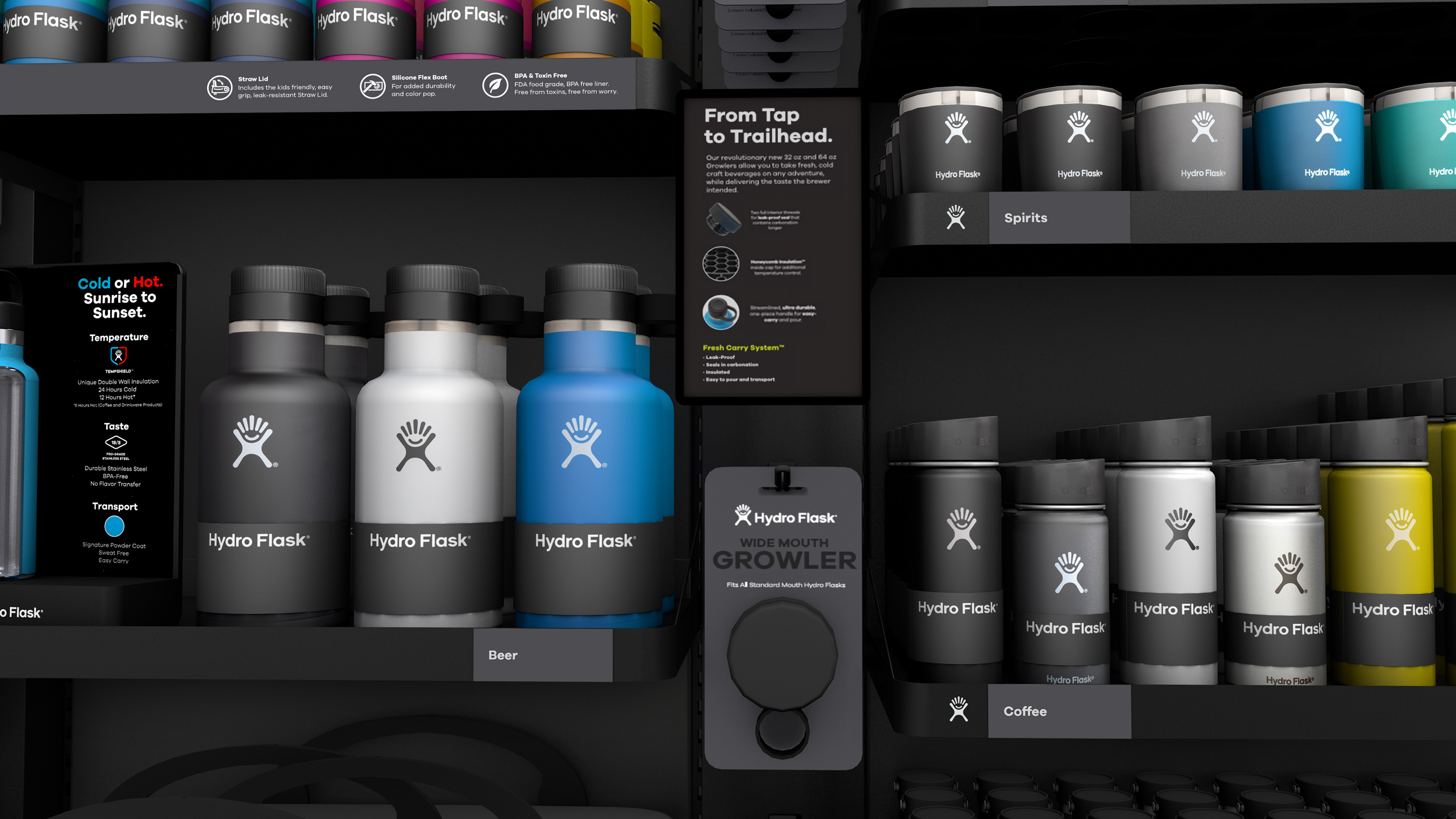 A digital render of many different kinds of hydro flask bottles on a product shelf
