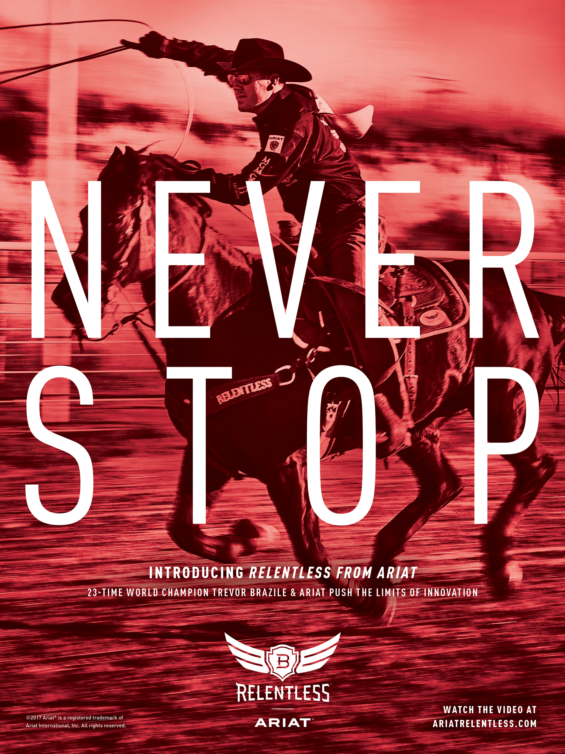 """Cowboy swinging a lasso while riding a horse with """"never stop"""" largely imposed over the the image"""