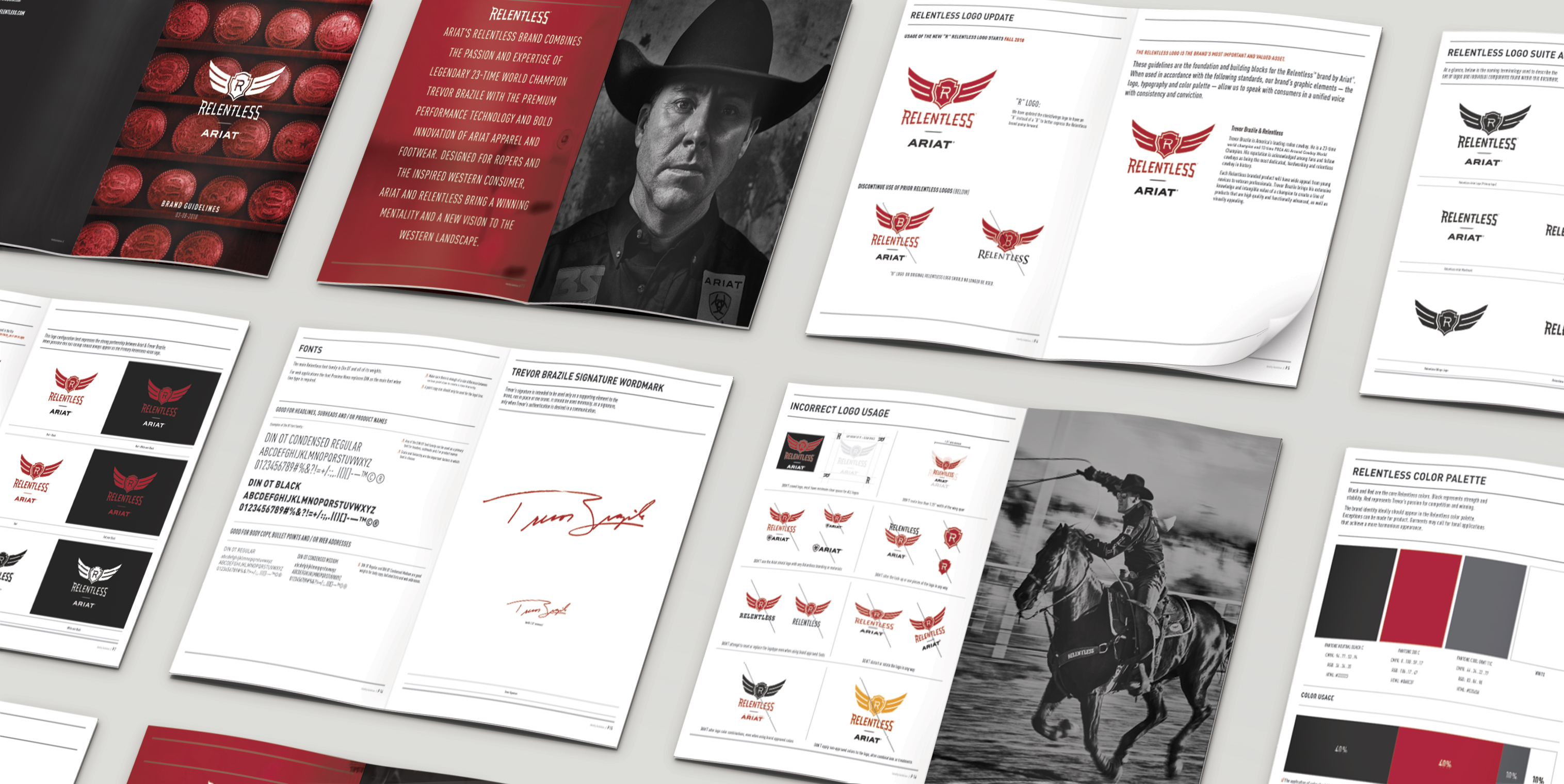 Spreads from the Ariat Relentless brand book